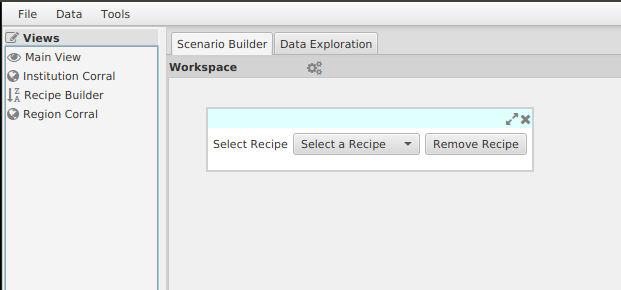 Initial view of the Recipe Builder.